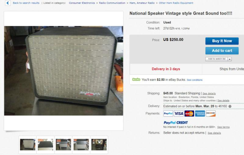 One of the most common National receiver speakers ever.