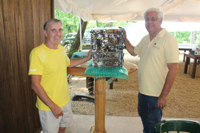 Bob Sullivan and Nick Tusa, presenting the original Central Electronics 100V Prototype