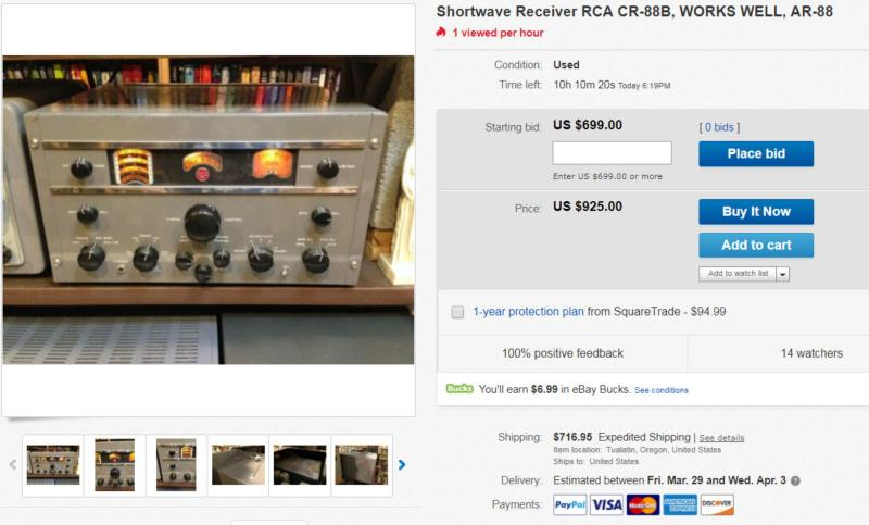 Over $700 to ship an old RCA-CR88?  Good luck with that.