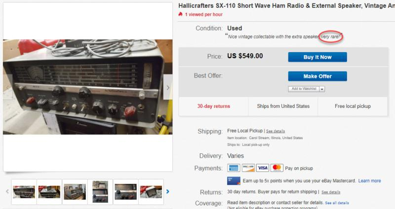 The RARE hoax: Buy a filthy, modified example of one of Hallicrafters most common receivers for $549!