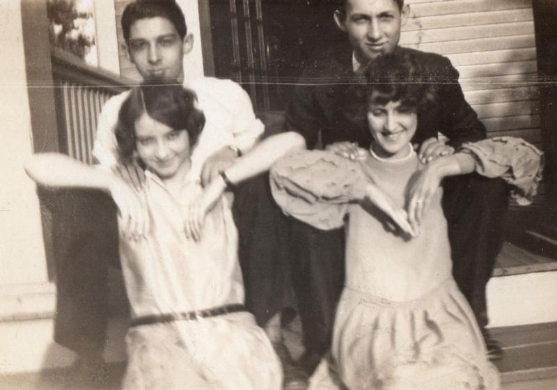 Fielden with friend Elaine Dans (left)